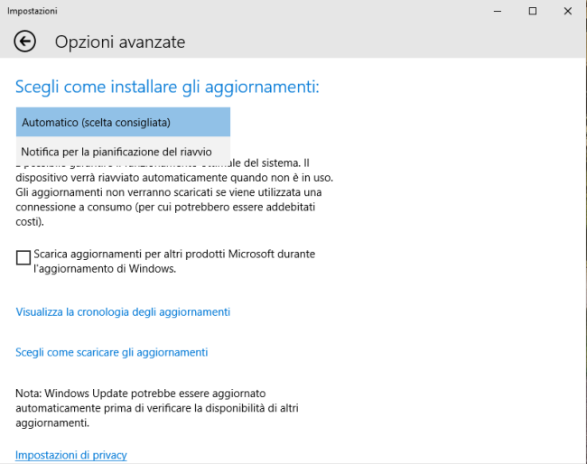 Windows 10 Home, aggiornamenti automatici