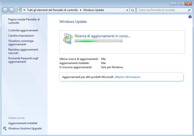 Aggiornamenti Windows 7, la ricerca è infinita
