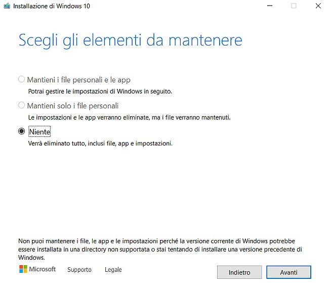 Aggiornamento in-place non funziona più con Windows 10 20H2