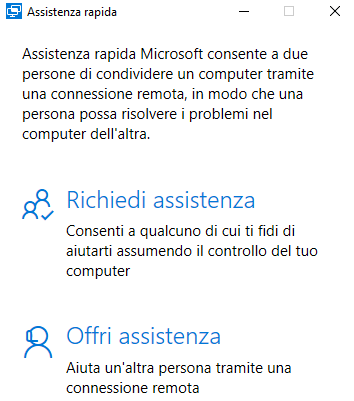 Assistenza remota in Windows 10, come funziona