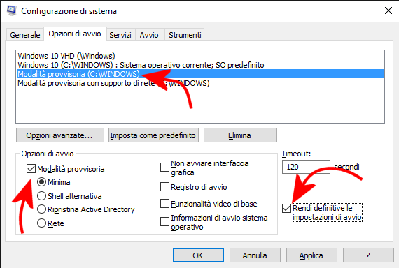 Avviare Windows 10 e Windows 8.1 in modalità provvisoria