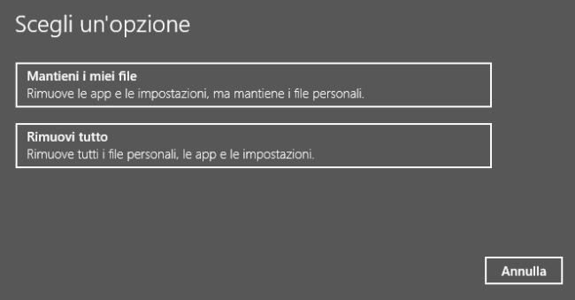 Installare o reinstallare Windows senza DVD o USB