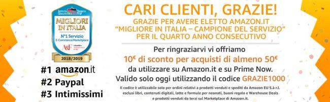 7a55b44771 Buono sconto Amazon da 10 euro spendibile nella sola giornata di oggi