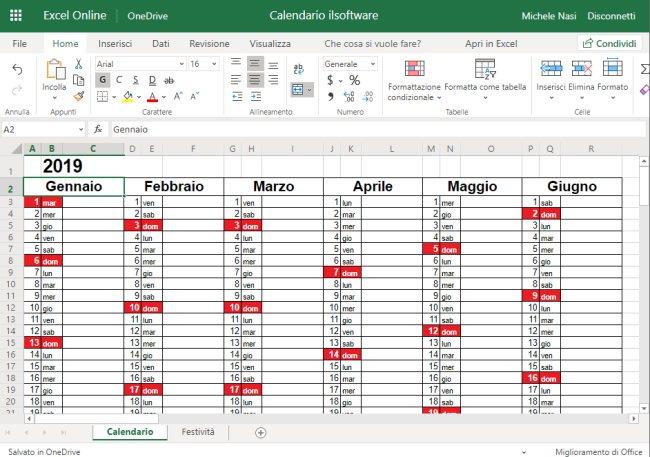 Calendario Con Festivita 2019.Calendario 2019 In Formato Excel Con Le Festivita Italiane