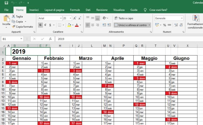 Calendario Mese Di Maggio 2020.Calendario 2019 In Formato Excel Con Le Festivita Italiane