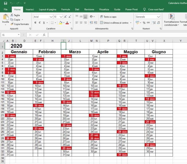 Calendario 2020 in formato Excel con le festività italiane