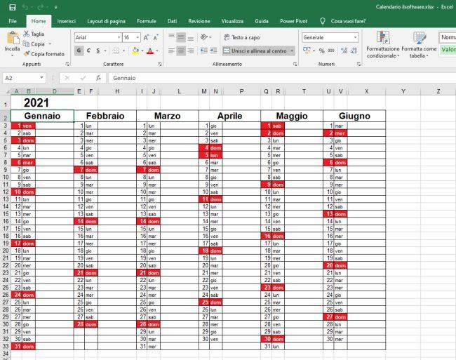 Festivita Rosse Calendario 2021 Calendario 2021 in formato Excel con le festività italiane