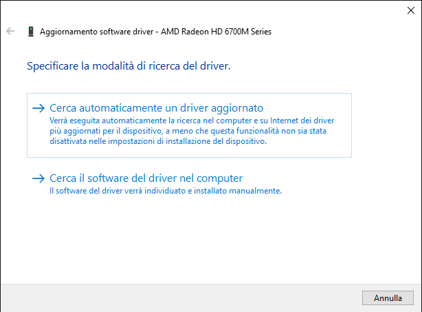 Dispositivo hardware non riconosciuto in Windows 10