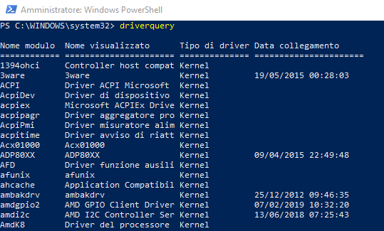Driver Windows, come ottenere la lista completa