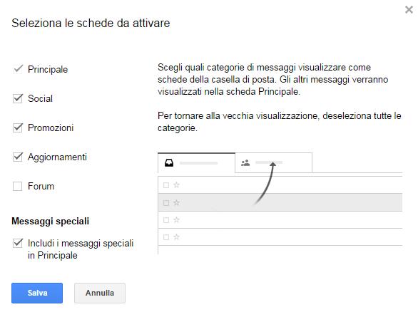 È possibile disabilitare la suddivisione della posta in arrivo gmail