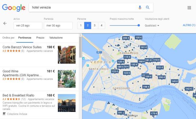 Google confronta prezzi hotel e case vacanza