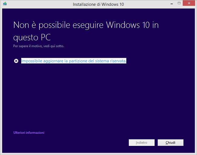 Windows 10, impossibile aggiornare la partizione del sistema riservata