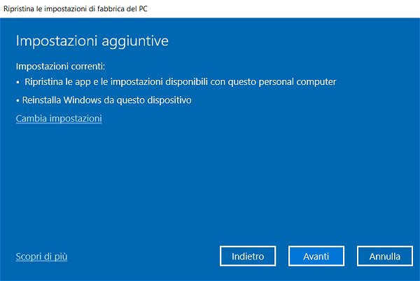 Windows 10, differenza tra Installazione da zero o Fresh Start e Reimposta il PC