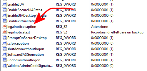 Mostrare un messaggio all'avvio di Windows