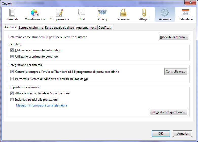 Ordinare gli account email in Thunderbird