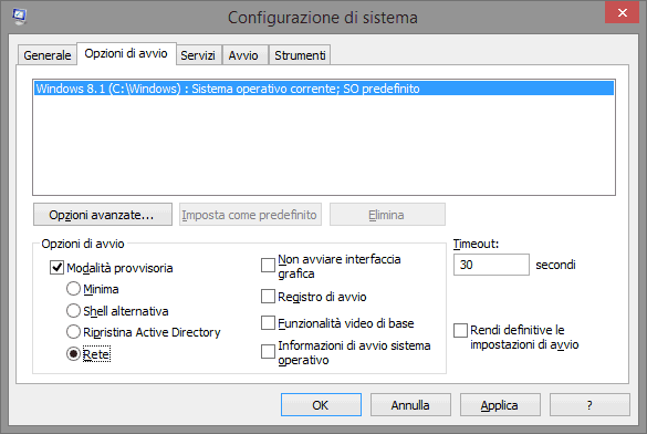 Riavviare in modalità provvisoria Windows 8.1, Windows 8 e Windows 7