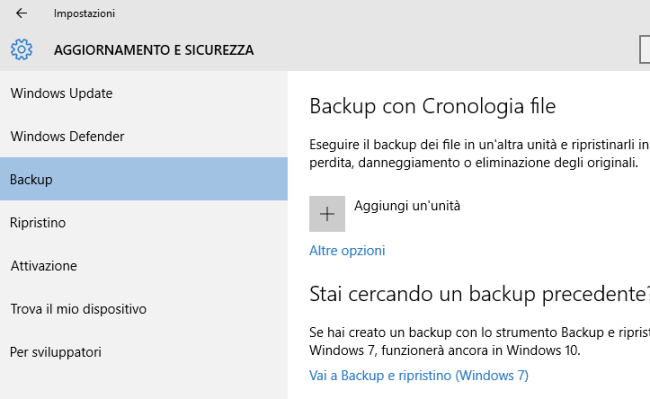 Recupero file in Windows 10 con Cronologia file