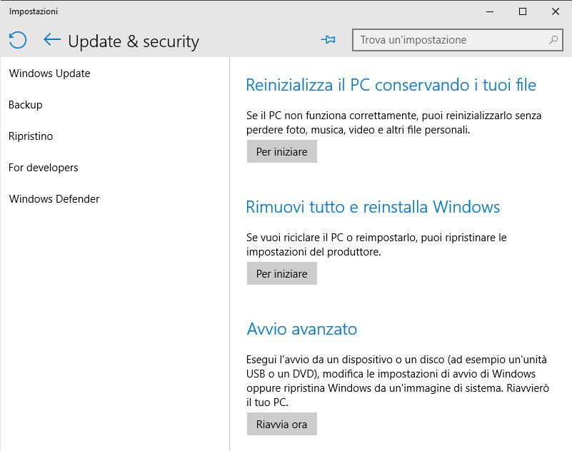 Windows 10 e Windows 8.1: ripristino del sistema a confronto