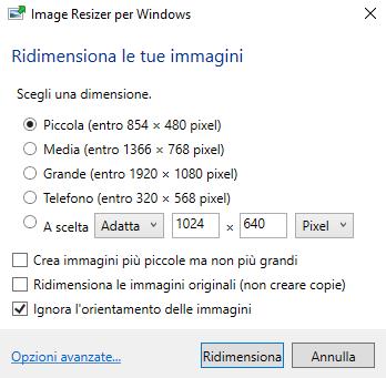 Ridimensionare immagini da Esplora file in Windows