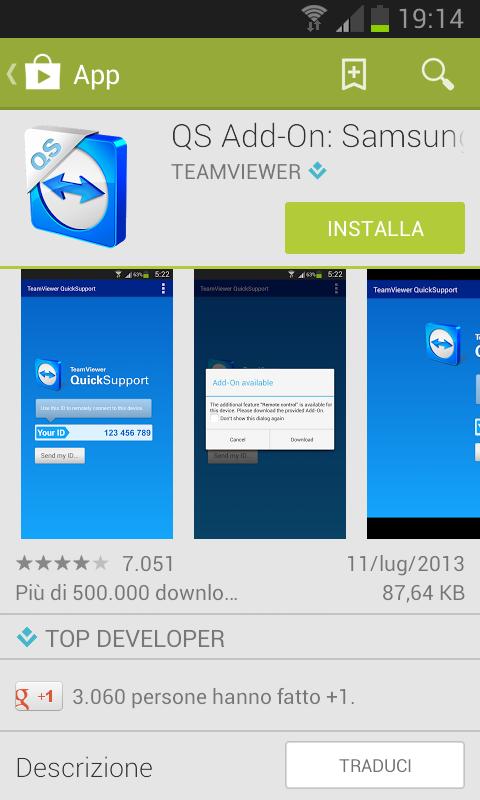 Offri Supporto Remoto a dispositivi Android