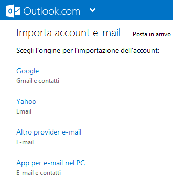 Trasferire e-mail da un account all'altro via IMAP