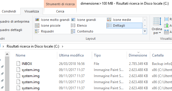 Come trovare file di grandi dimensioni in Windows