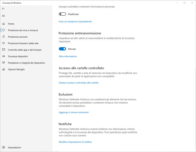 Windows Defender: protezione antimanomissione attivata su tutti i sistemi Windows 10